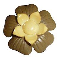 XL 2 Color Celluloid Flower Button Bakelite Style