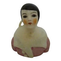 Art Deco Flapper German Porcelain Half Doll Powder Puff Jar