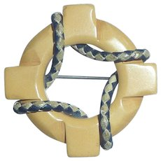 Bakelite Cream Corn & Leather Trim Life Saver Preserver Brooch Pin