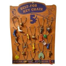 24 Original Vintage Belt Fob Key Chain Charm Cowboy Sports Dealer Display Card  1950s-60s