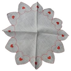 Beautiful Sheer Round Valentine's Hanky Embroidered Hearts on Hearts