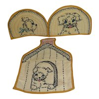 Adorable Handmade Embroidered 3 Piece Dog Puppy Pot Holder Set