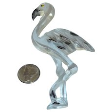 Extra Large Clear Lucite Flamingo Bird Pin Brooch