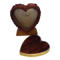 Unusual Vintage Valentine Love Velvet & Wood Heart Ring Jewelry Box