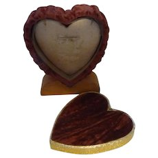 Unusual Vintage Valentine Love Velvet & Wood Heart Ring Jewelry Box