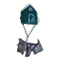 Adorable Bakelite Style Vintage Plastic Dangling SCOTTY Dog  and Dog House Pin Brooch