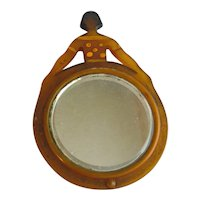 1920's Figural Celluloid Lady Shaped Mirror Dated