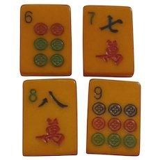 4 Bakelite Mah Jong Mahjong Buttons