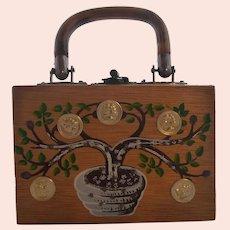 Vintage Child Size (4X6 in.) Wooden Box Purse Handbag Money Tree Gary Gails Dallas Texas