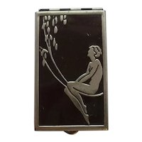 Art Deco Risqué Nude Enamel Powder/Rouge Compact with Mirror