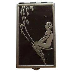 Art Deco Risqué Nude Enamel Powder/Rouge Compact with Mirror