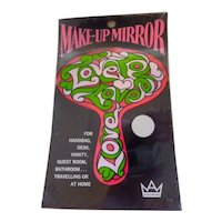 1960s MOD LOVE Hippie Make-Up Mirror Mint in Package