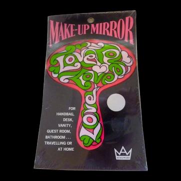 1960s MOD LOVE Hippie Make-Up Mirror Mint in Package