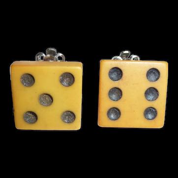 Lucky 11 Bakelite Flat Dice Clip Earrings