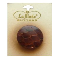 FABULOUS! Genuine Snake Skin Button on Original Card
