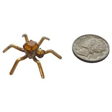 Adorable Realistic Figural Jeweled Rhinestone Tiny Spider Button
