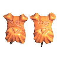 Fabulous and Rare Bakelite Realistic Carved Butterscotch Scotty Dog Earrings