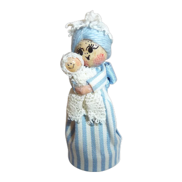 Ann Fuller Designs Vintage Miniature Doll Mother/ Child/ Baby Toy England Signed