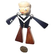Bakelite and Wood Articulated Sailor Man Pin Brooch 1940s WWll