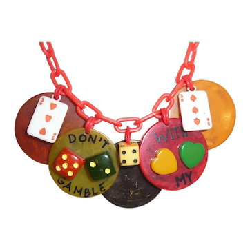 """BAKELITE Necklace """"Don't Gamble With My Love"""""""