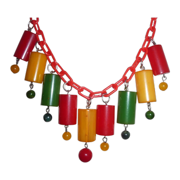 BAKELITE Colorful Bib Necklace Dangly 1/2 Cylinders and Small Beads