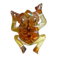 Fabulous Vintage Painted Lucite Leaping Frog Pin Brooch