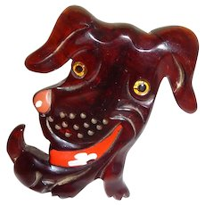 Vintage Carved Chunky Bakelite Silly Smiling Dog Pin Brooch