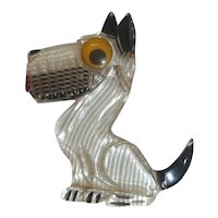 Adorable Googley-Eyed Clear Sitting Lucite Figural Realistic Dog Pin Broach