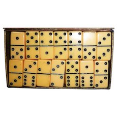 Mini Bakelite Dominoes Original Box Cream Corn & Black Game Pieces