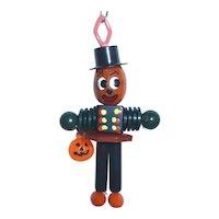 BAKELITE Crib Toy Button Bead Charm Pendant Pumpkin Man Halloween Fall with JOL