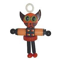 Bakelite Button Bead Crib Toy Halloween Cat Kitten Doll Charm Pendant Lucite