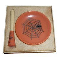 Tiny Celluloid Halloween Ashtray & Cigarette Holder W/Spider Design Germany