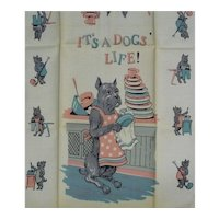 "Vintage Linen Kitchen Towel Mint Dog Boxer? Washing Dishes ""IT'S A DOGS' LIFE"""