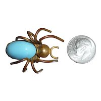 Vintage Baby Spider Bug Pin Brooch Brass & Jeweled Stone