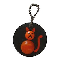 ONE BAKELITE 3D Cat Kitten Charm Key Chain Zipper Pull Martha Sleeper Style