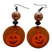 Bakelite & Plastic Halloween Pumpkin JOL Earrings Orange Yellow Black