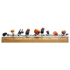 Bakelite Plastic Celluloid Halloween Black Cats  JOL Balls Heart 9 Charms Bracelet