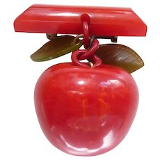 RARE! Bakelite X-Large Dangle Carved Apple Fruit Pin Unusual Leaves