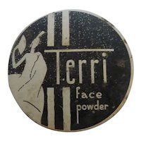 RARE! Art Deco Vintage TERRI Mini Powder Tin
