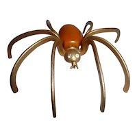 Vintage RARE XXL BUTTERSCOTCH Bakelite & Brass Spider Bug Pin Brooch Spooky Halloween