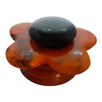 DECO STYLE BAKELITE Ring Trinket Jewelry Powder Vanity Box Halloween Colors Figural Flower Top