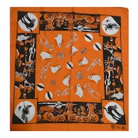 Vintage Halloween Theme Bandana Handkerchief Hanky JOL, Cat, Ghost, Witch, Bat