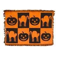 Vintage Halloween Theme Jacquard Mat JOL and Cat Reversible