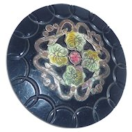 Extra Extra Large Celluloid & Metal Button Ornament Asian Floral Motif 4 Shanks
