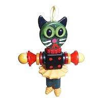 Bakelite Button Bead Crib Toy Black Cat Doll Charm Pendant Lucite Casein