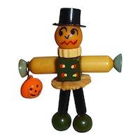 BAKELITE CRIB TOY Button Bead Charm Pin Brooch Pumpkin Man Halloween Fall
