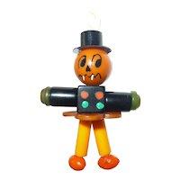 BAKELITE CRIB TOY Button Bead Charm Pendant Pumpkin Man Halloween Fall #1