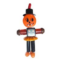 BAKELITE CRIB TOY Button Bead Charm Pendant Pumpkin Man Halloween Fall #2