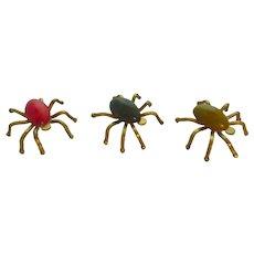 Choose One....Tiny Bakelite and Brass Spiders Halloween Decor