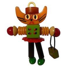 Bakelite Button Bead Crib Toy Shopping Cat Doll Pendant
